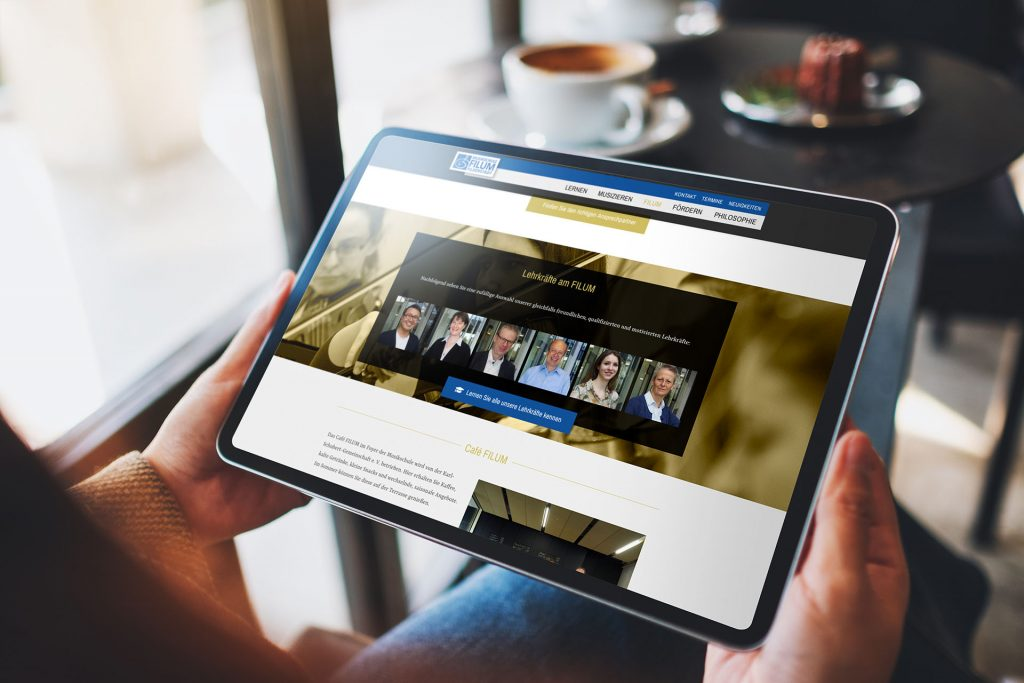 Filum-Internetseite auf dem iPad